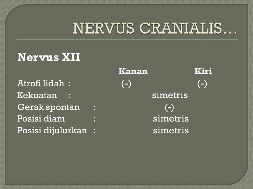 Nervus XII KananKiri Atrofi lidah: (-) (-) Kekuatan: simetris Gerak spontan: (-) Posisi diam: simetris Posisi dijulurkan: simetris