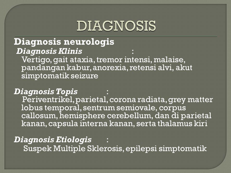 Diagnosis neurologis Diagnosis Klinis : Vertigo, gait ataxia, tremor intensi, malaise, pandangan kabur, anorexia, retensi alvi, akut simptomatik seizu