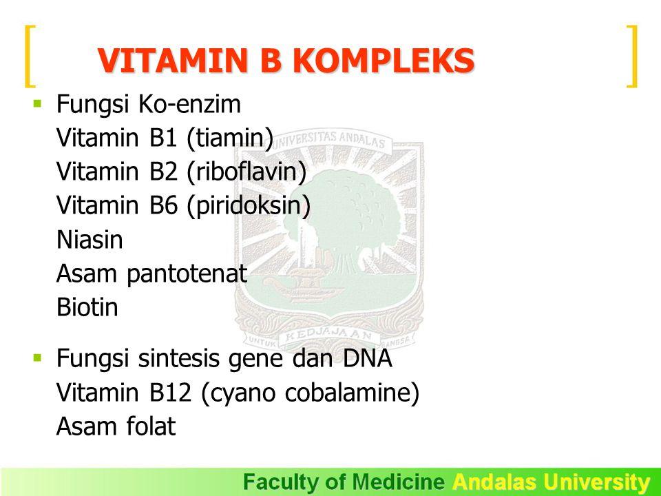 VITAMIN B KOMPLEKS  Fungsi Ko-enzim Vitamin B1 (tiamin) Vitamin B2 (riboflavin) Vitamin B6 (piridoksin) Niasin Asam pantotenat Biotin  Fungsi sintesis gene dan DNA Vitamin B12 (cyano cobalamine) Asam folat