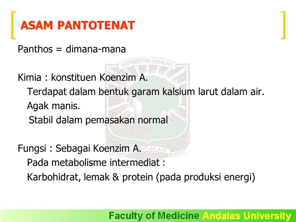 Panthos = dimana-mana Kimia : konstituen Koenzim A.