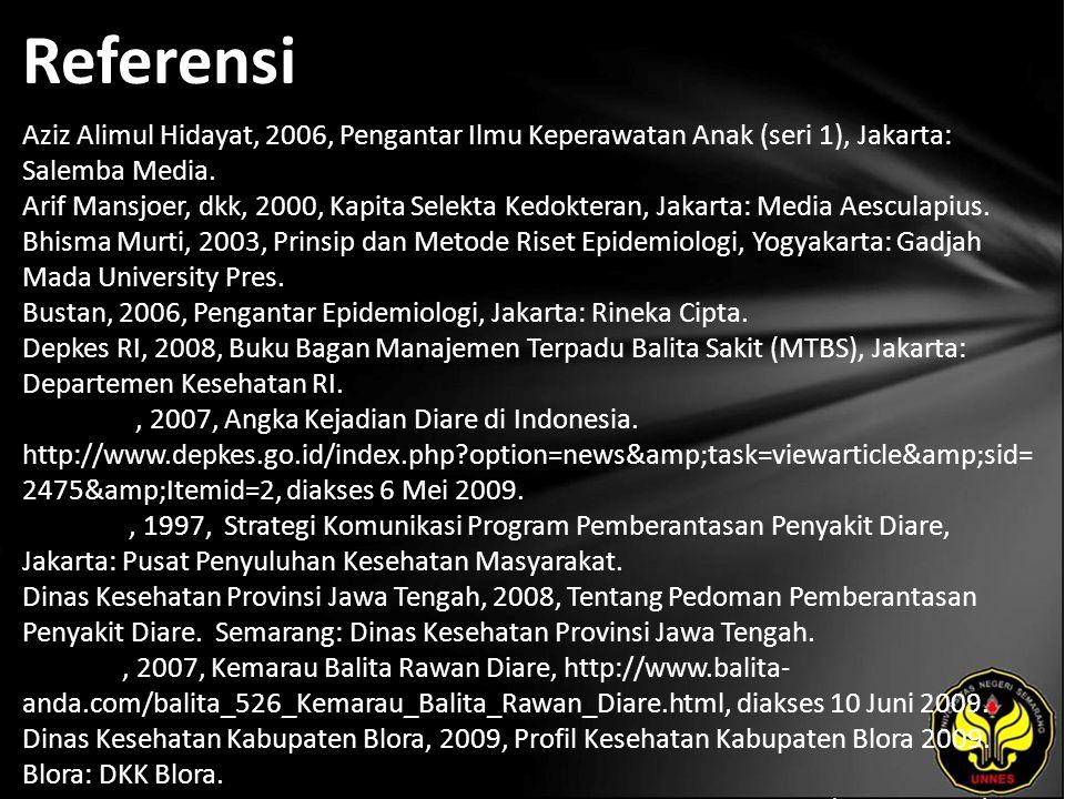 Referensi Aziz Alimul Hidayat, 2006, Pengantar Ilmu Keperawatan Anak (seri 1), Jakarta: Salemba Media. Arif Mansjoer, dkk, 2000, Kapita Selekta Kedokt