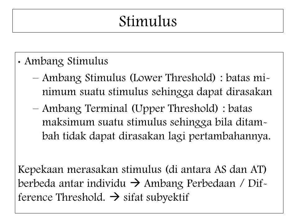 Stimulus Ambang Stimulus –Ambang Stimulus (Lower Threshold) : batas mi- nimum suatu stimulus sehingga dapat dirasakan –Ambang Terminal (Upper Threshol