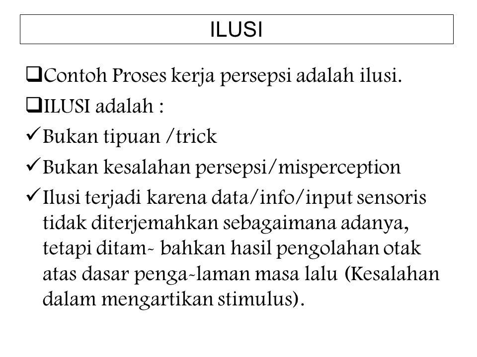  Contoh Proses kerja persepsi adalah ilusi.  ILUSI adalah : Bukan tipuan /trick Bukan kesalahan persepsi/misperception Ilusi terjadi karena data/inf