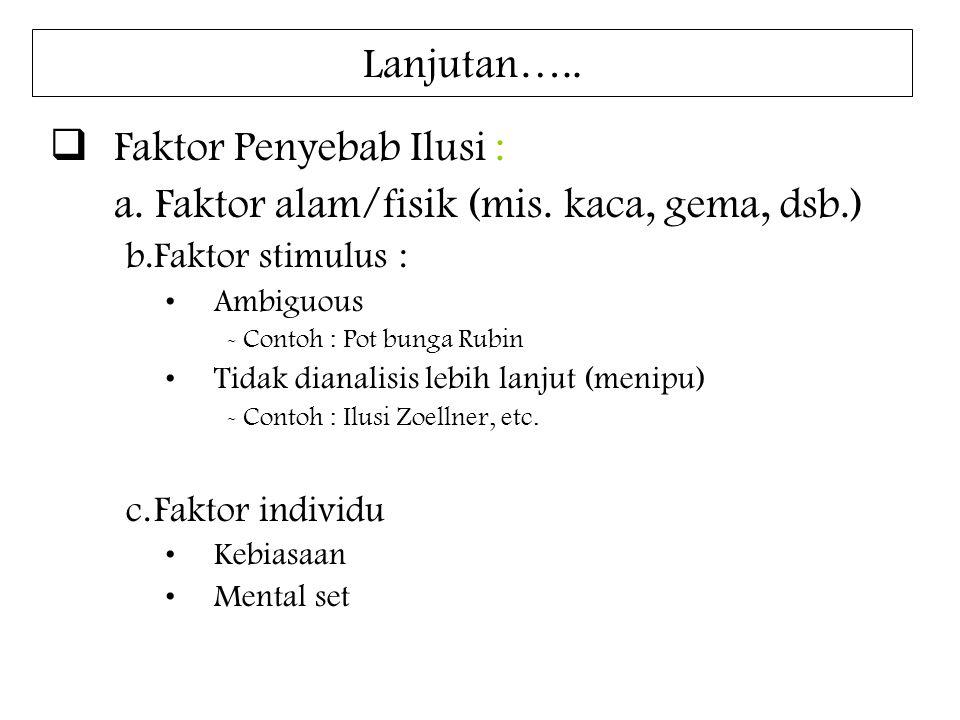 Lanjutan…..  Faktor Penyebab Ilusi : a. Faktor alam/fisik (mis. kaca, gema, dsb.) b.Faktor stimulus : Ambiguous - Contoh : Pot bunga Rubin Tidak dian