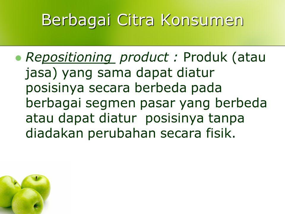 Berbagai Citra Konsumen Repositioning product : Produk (atau jasa) yang sama dapat diatur posisinya secara berbeda pada berbagai segmen pasar yang ber