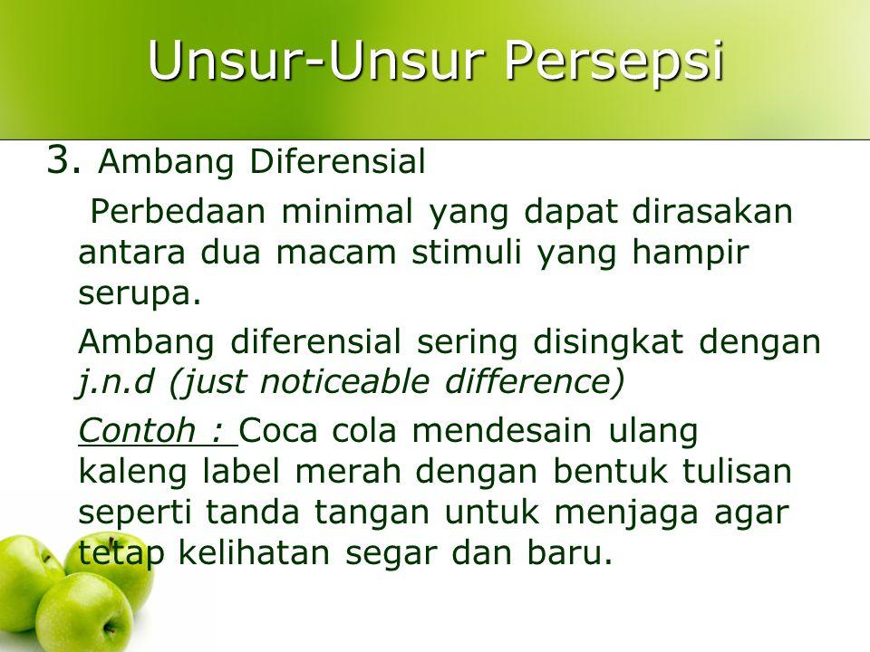 Unsur-Unsur Persepsi 3. Ambang Diferensial Perbedaan minimal yang dapat dirasakan antara dua macam stimuli yang hampir serupa. Ambang diferensial seri