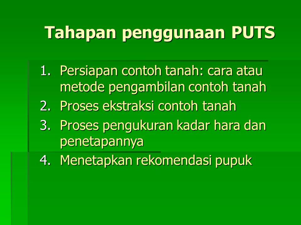 Tahapan penggunaan PUTS 1.Persiapan contoh tanah: cara atau metode pengambilan contoh tanah 2.Proses ekstraksi contoh tanah 3.Proses pengukuran kadar hara dan penetapannya 4.Menetapkan rekomendasi pupuk