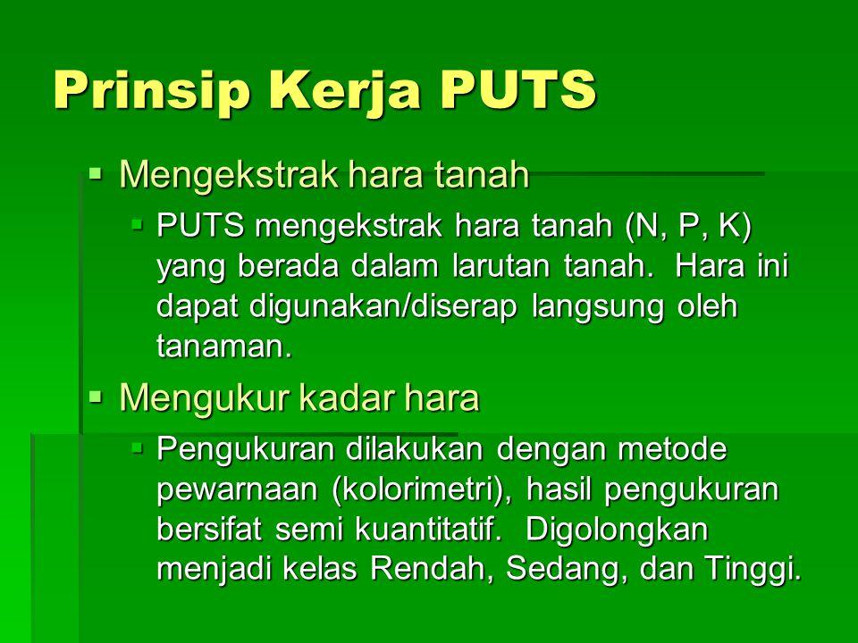 Prinsip Kerja PUTS  Mengekstrak hara tanah  PUTS mengekstrak hara tanah (N, P, K) yang berada dalam larutan tanah. Hara ini dapat digunakan/diserap