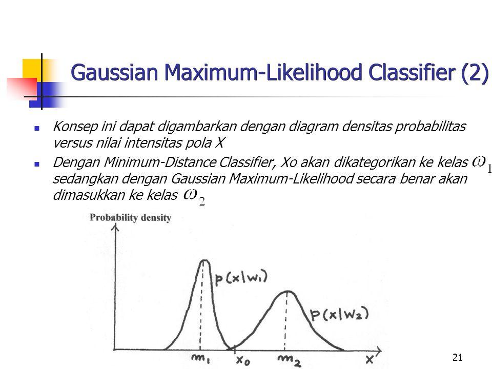 21 Gaussian Maximum-Likelihood Classifier (2) Konsep ini dapat digambarkan dengan diagram densitas probabilitas versus nilai intensitas pola X Dengan