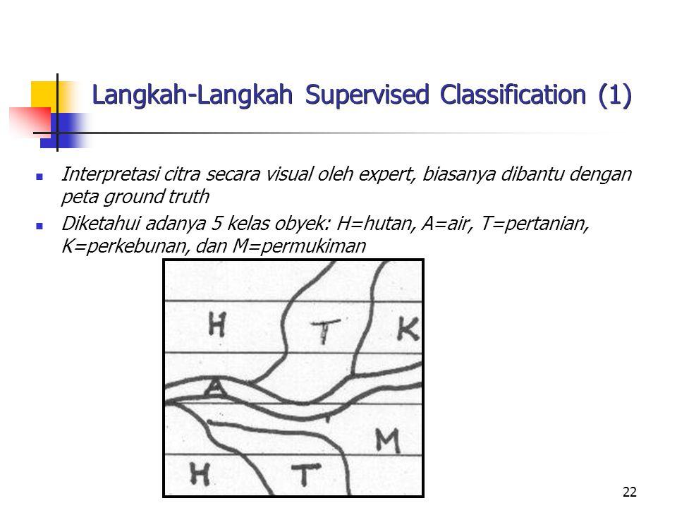 22 Langkah-Langkah Supervised Classification (1) Interpretasi citra secara visual oleh expert, biasanya dibantu dengan peta ground truth Diketahui ada