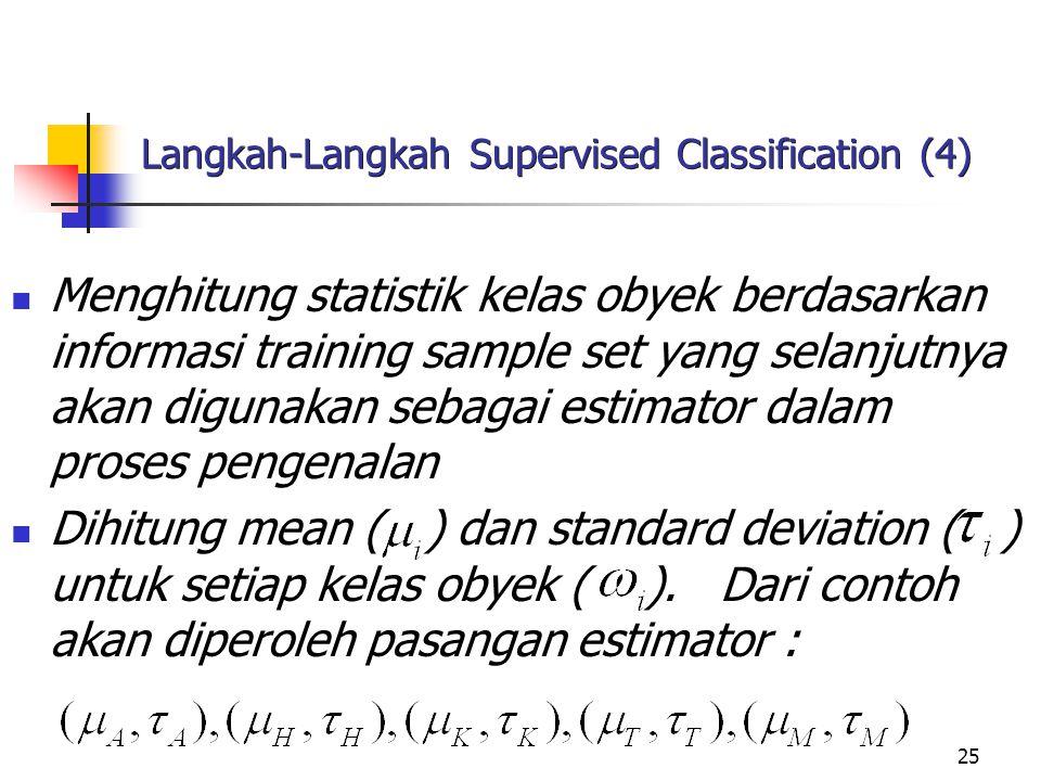 25 Langkah-Langkah Supervised Classification (4) Menghitung statistik kelas obyek berdasarkan informasi training sample set yang selanjutnya akan digu