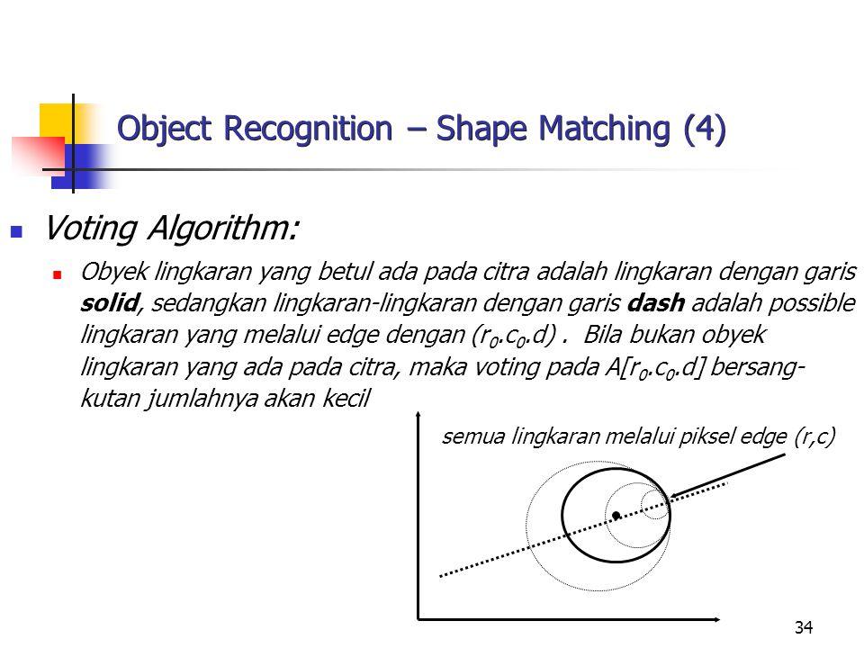 34 Object Recognition – Shape Matching (4) Voting Algorithm: Obyek lingkaran yang betul ada pada citra adalah lingkaran dengan garis solid, sedangkan