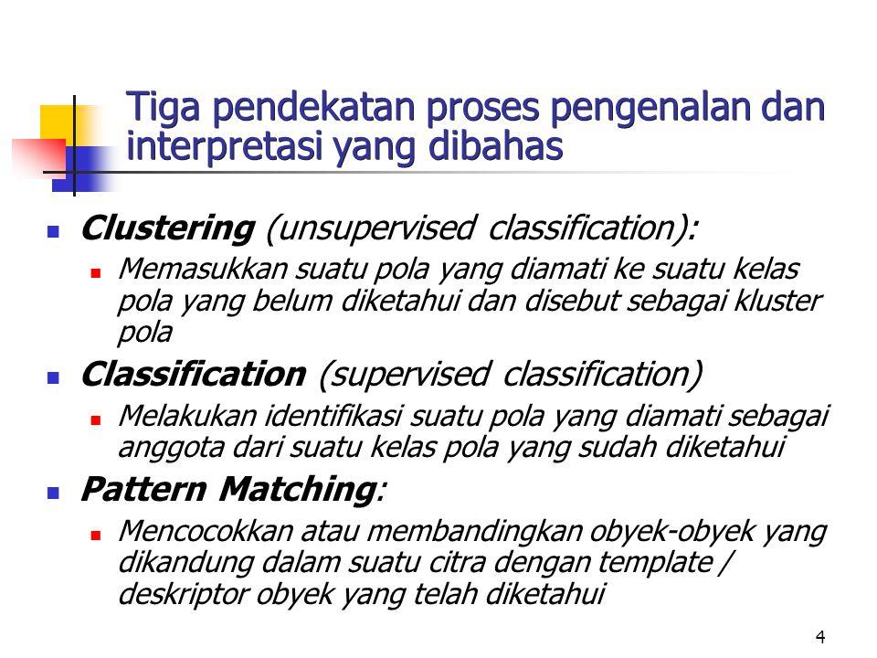 4 Tiga pendekatan proses pengenalan dan interpretasi yang dibahas Clustering (unsupervised classification): Memasukkan suatu pola yang diamati ke suat