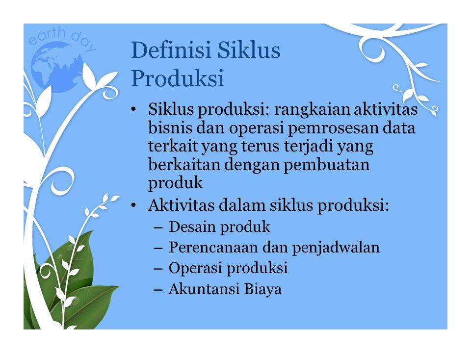 Definisi Siklus Produksi Siklus produksi: rangkaian aktivitas bisnis dan operasi pemrosesan data terkait yang terus terjadi yang berkaitan dengan pemb