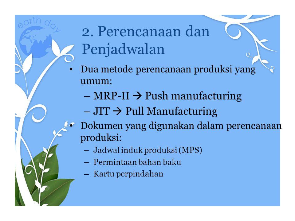 2. Perencanaan dan Penjadwalan Dua metode perencanaan produksi yang umum: – MRP-II  Push manufacturing – JIT  Pull Manufacturing Dokumen yang diguna