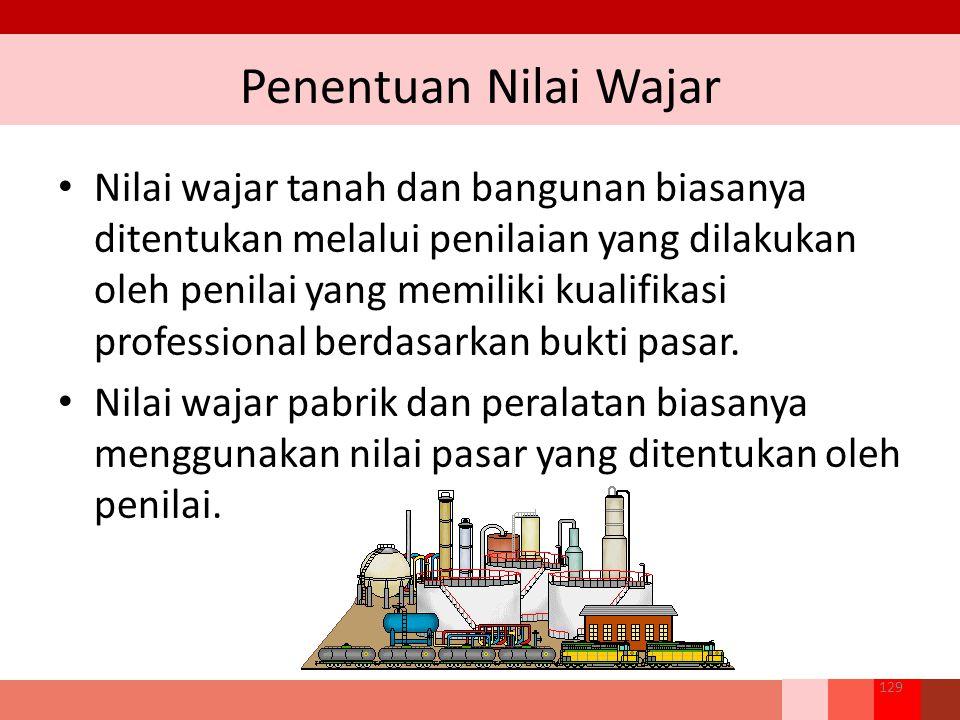 Penentuan Nilai Wajar 129 Nilai wajar tanah dan bangunan biasanya ditentukan melalui penilaian yang dilakukan oleh penilai yang memiliki kualifikasi professional berdasarkan bukti pasar.