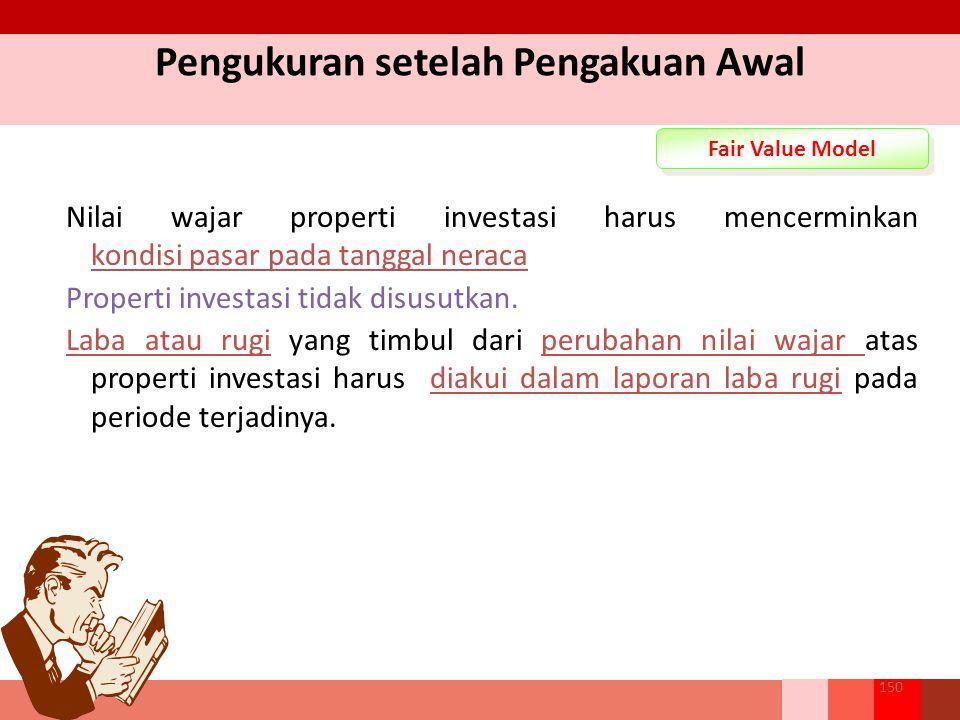 Pengukuran setelah Pengakuan Awal Fair Value Model Nilai wajar properti investasi harus mencerminkan kondisi pasar pada tanggal neraca Properti investasi tidak disusutkan.