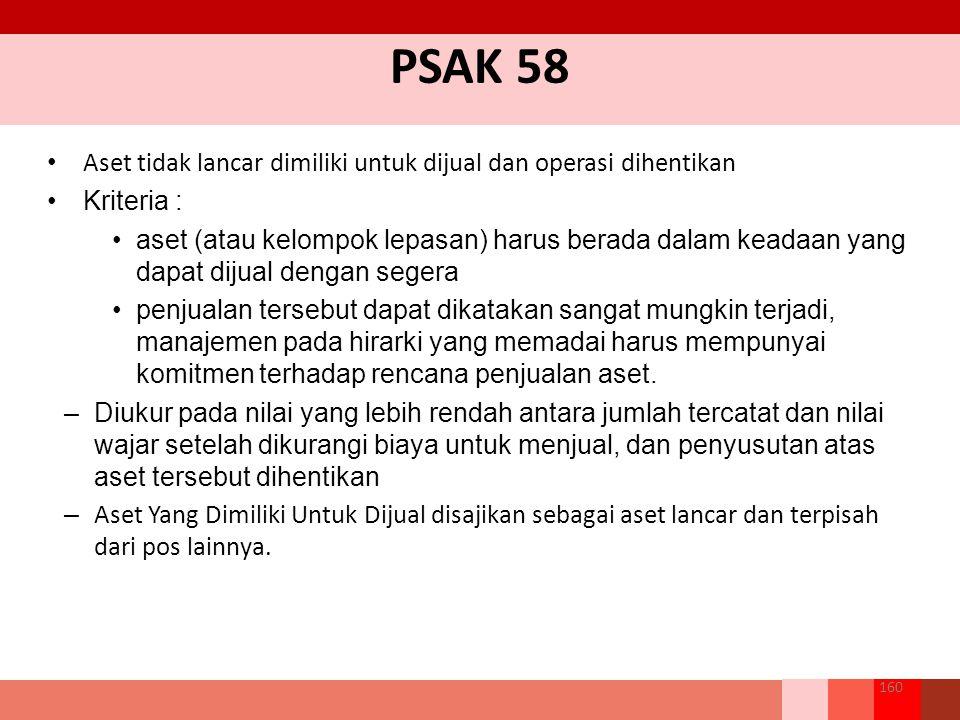 PSAK 58 Aset tidak lancar dimiliki untuk dijual dan operasi dihentikan Kriteria : aset (atau kelompok lepasan) harus berada dalam keadaan yang dapat dijual dengan segera penjualan tersebut dapat dikatakan sangat mungkin terjadi, manajemen pada hirarki yang memadai harus mempunyai komitmen terhadap rencana penjualan aset.