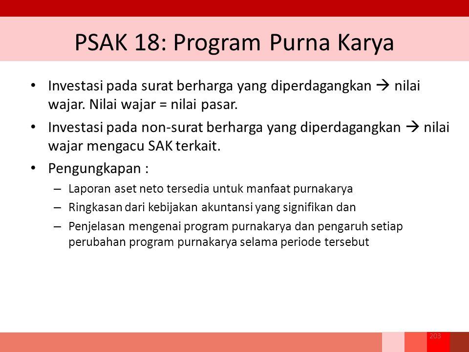 PSAK 18: Program Purna Karya Investasi pada surat berharga yang diperdagangkan  nilai wajar.