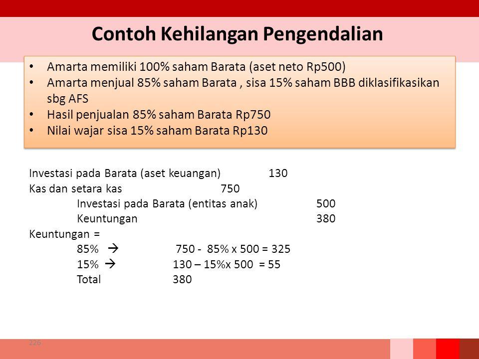 Contoh Kehilangan Pengendalian Amarta memiliki 100% saham Barata (aset neto Rp500) Amarta menjual 85% saham Barata, sisa 15% saham BBB diklasifikasikan sbg AFS Hasil penjualan 85% saham Barata Rp750 Nilai wajar sisa 15% saham Barata Rp130 Amarta memiliki 100% saham Barata (aset neto Rp500) Amarta menjual 85% saham Barata, sisa 15% saham BBB diklasifikasikan sbg AFS Hasil penjualan 85% saham Barata Rp750 Nilai wajar sisa 15% saham Barata Rp130 226 Investasi pada Barata (aset keuangan)130 Kas dan setara kas750 Investasi pada Barata (entitas anak)500 Keuntungan 380 Keuntungan = 85%  750 - 85% x 500 = 325 15%  130 – 15%x 500 = 55 Total380