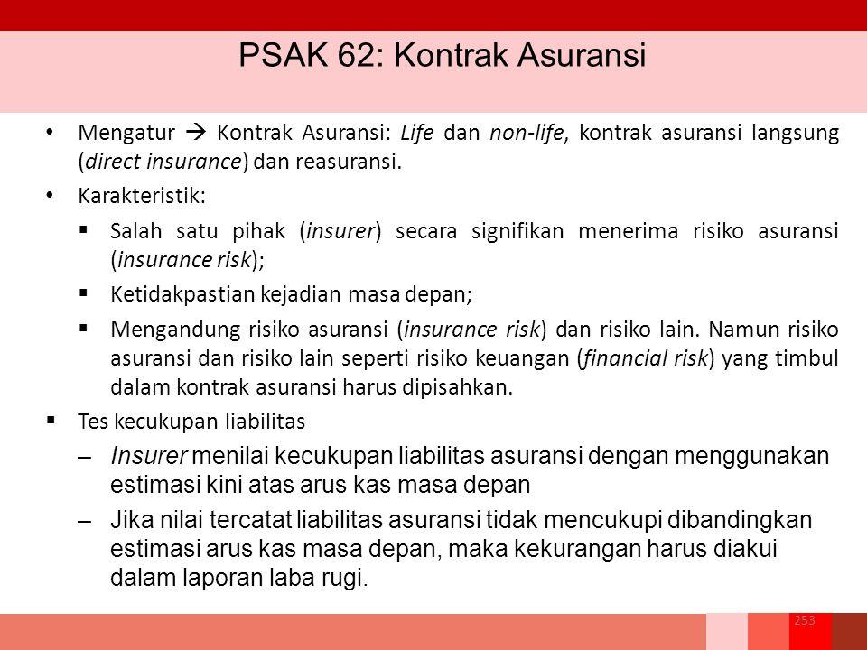 PSAK 62: Kontrak Asuransi 253 Mengatur  Kontrak Asuransi: Life dan non-life, kontrak asuransi langsung (direct insurance) dan reasuransi.