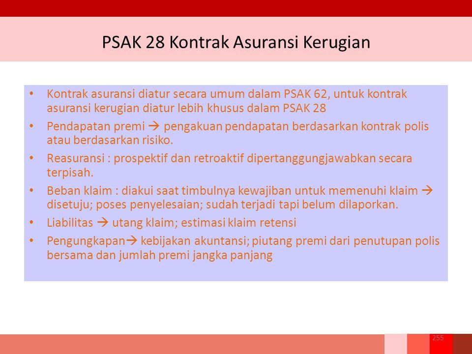 PSAK 28 Kontrak Asuransi Kerugian 255 Kontrak asuransi diatur secara umum dalam PSAK 62, untuk kontrak asuransi kerugian diatur lebih khusus dalam PSAK 28 Pendapatan premi  pengakuan pendapatan berdasarkan kontrak polis atau berdasarkan risiko.