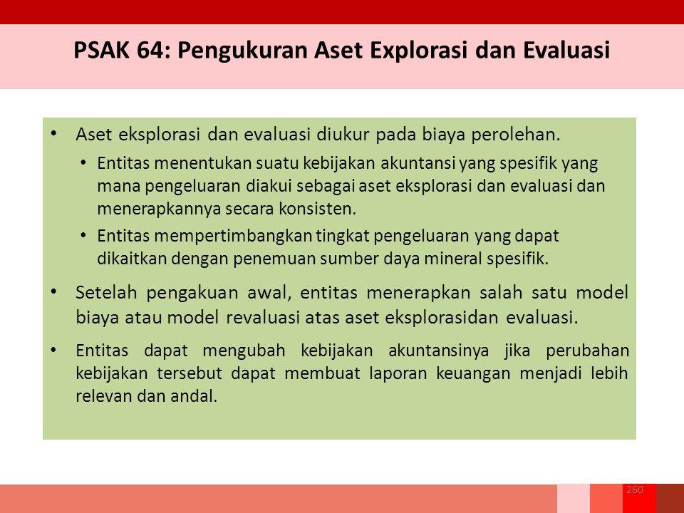 PSAK 64: Pengukuran Aset Explorasi dan Evaluasi Aset eksplorasi dan evaluasi diukur pada biaya perolehan.