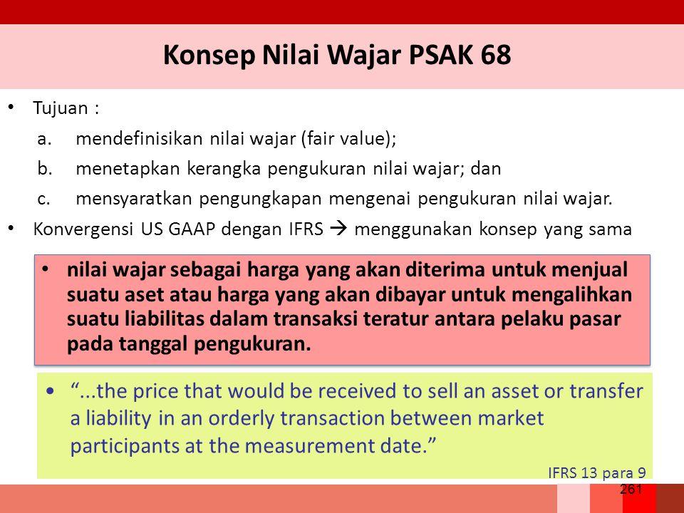 Konsep Nilai Wajar PSAK 68 Tujuan : a.mendefinisikan nilai wajar (fair value); b.menetapkan kerangka pengukuran nilai wajar; dan c.mensyaratkan pengungkapan mengenai pengukuran nilai wajar.