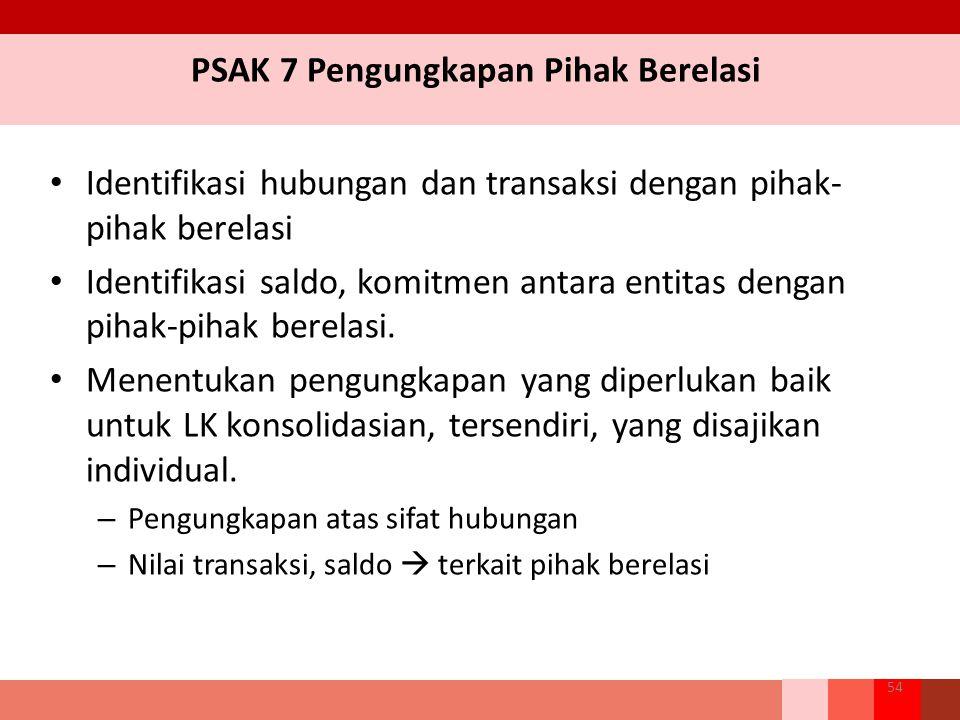 PSAK 7 Pengungkapan Pihak Berelasi Identifikasi hubungan dan transaksi dengan pihak- pihak berelasi Identifikasi saldo, komitmen antara entitas dengan pihak-pihak berelasi.