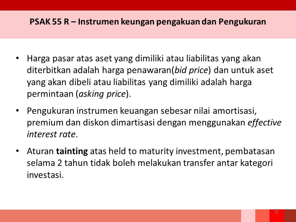 Harga pasar atas aset yang dimiliki atau liabilitas yang akan diterbitkan adalah harga penawaran(bid price) dan untuk aset yang akan dibeli atau liabilitas yang dimiliki adalah harga permintaan (asking price).