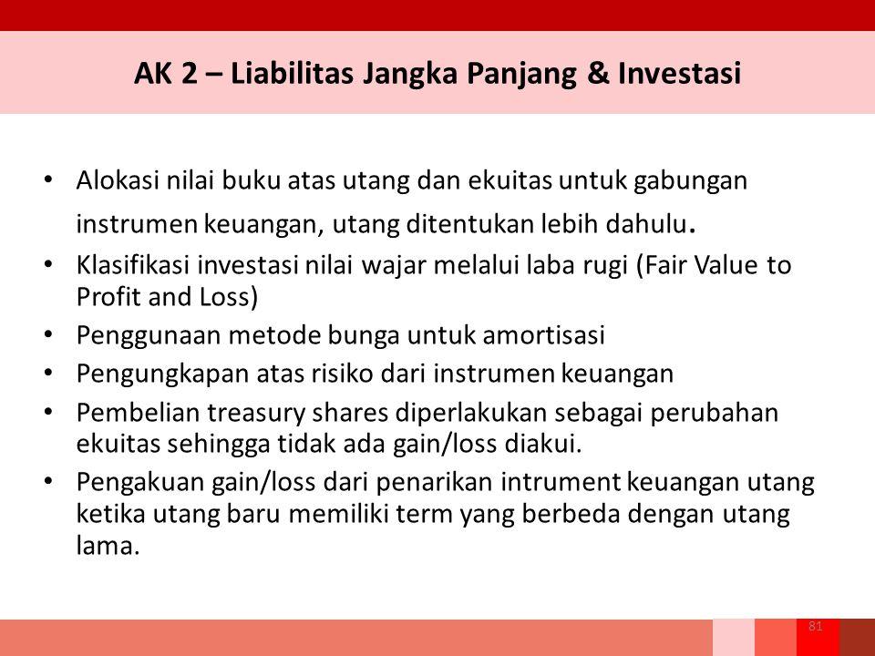 AK 2 – Liabilitas Jangka Panjang & Investasi Alokasi nilai buku atas utang dan ekuitas untuk gabungan instrumen keuangan, utang ditentukan lebih dahulu.