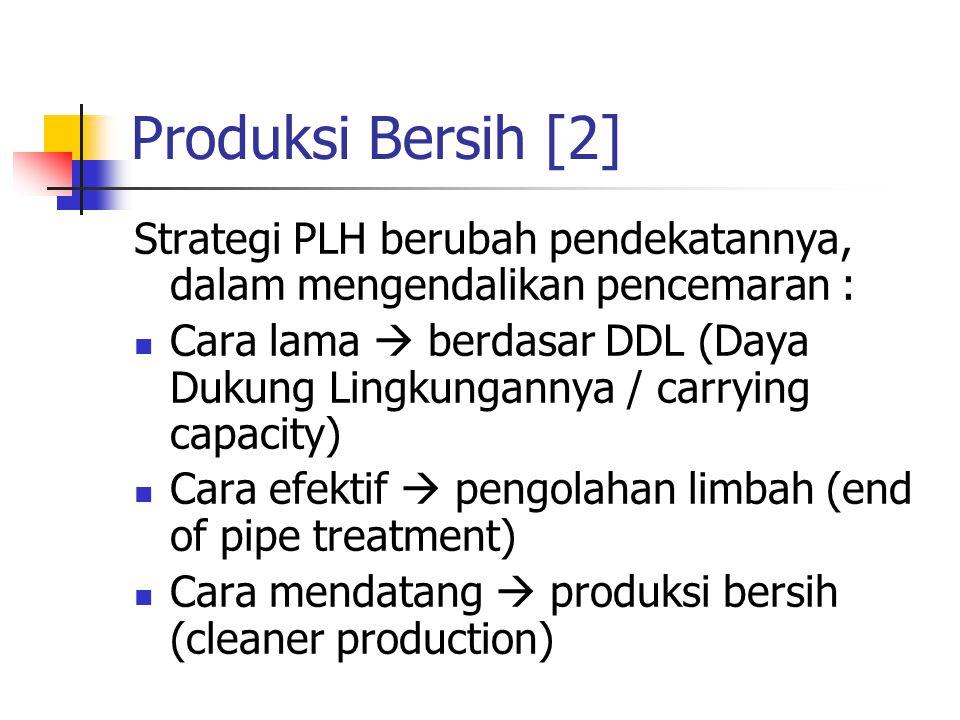 Produksi Bersih [2] Strategi PLH berubah pendekatannya, dalam mengendalikan pencemaran : Cara lama  berdasar DDL (Daya Dukung Lingkungannya / carrying capacity) Cara efektif  pengolahan limbah (end of pipe treatment) Cara mendatang  produksi bersih (cleaner production)