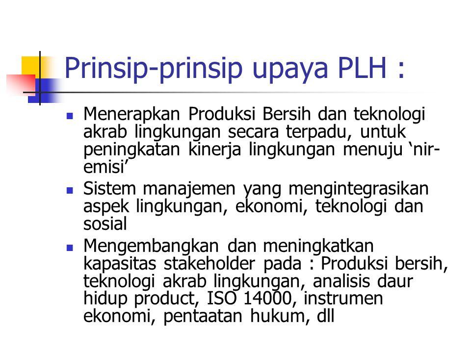 Prinsip-prinsip upaya PLH : Menerapkan Produksi Bersih dan teknologi akrab lingkungan secara terpadu, untuk peningkatan kinerja lingkungan menuju 'nir- emisi' Sistem manajemen yang mengintegrasikan aspek lingkungan, ekonomi, teknologi dan sosial Mengembangkan dan meningkatkan kapasitas stakeholder pada : Produksi bersih, teknologi akrab lingkungan, analisis daur hidup product, ISO 14000, instrumen ekonomi, pentaatan hukum, dll