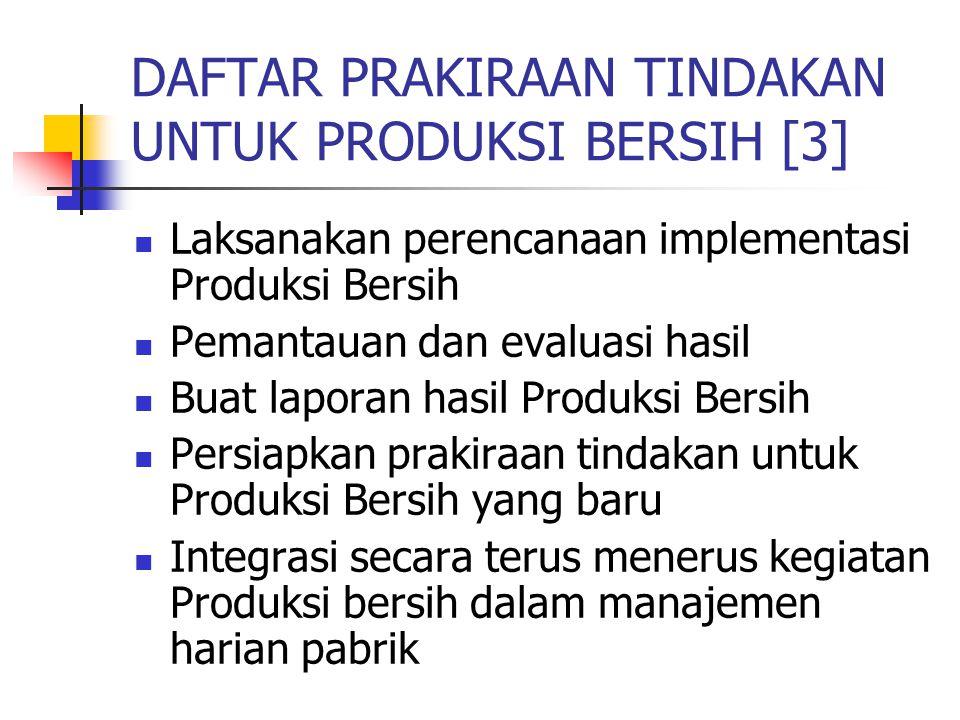 DAFTAR PRAKIRAAN TINDAKAN UNTUK PRODUKSI BERSIH [3] Laksanakan perencanaan implementasi Produksi Bersih Pemantauan dan evaluasi hasil Buat laporan has