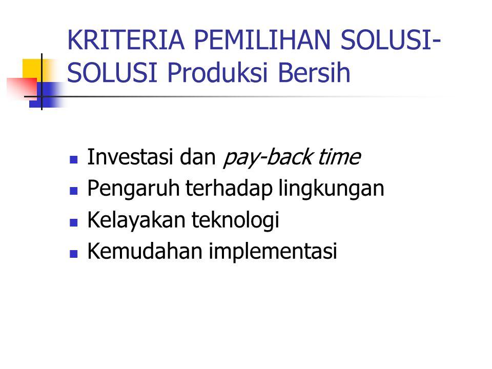 KRITERIA PEMILIHAN SOLUSI- SOLUSI Produksi Bersih Investasi dan pay-back time Pengaruh terhadap lingkungan Kelayakan teknologi Kemudahan implementasi