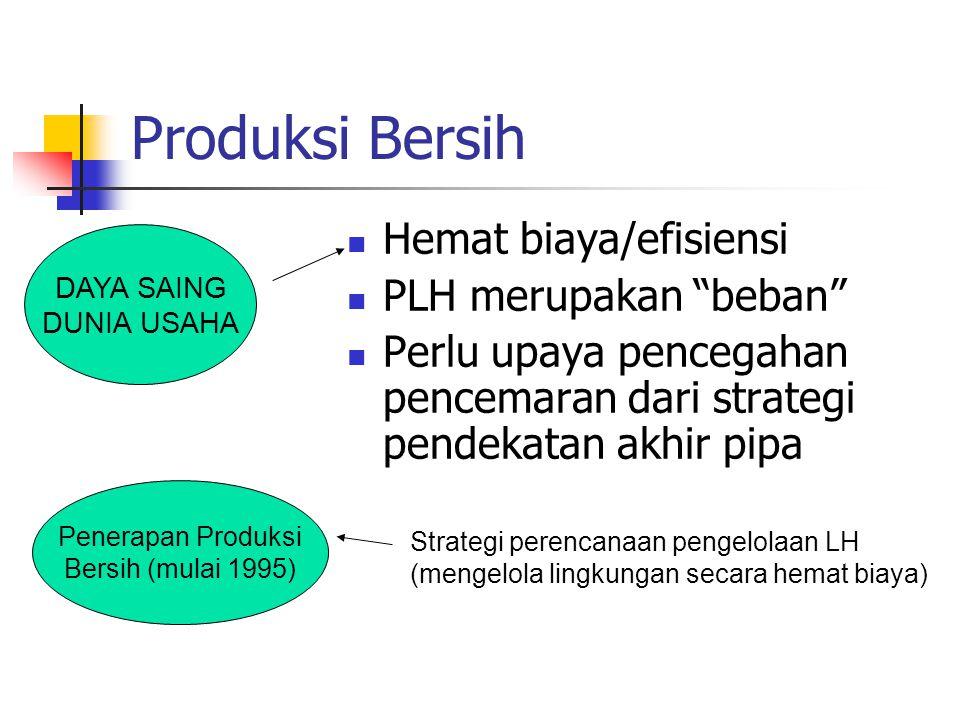 Produksi Bersih Hemat biaya/efisiensi PLH merupakan beban Perlu upaya pencegahan pencemaran dari strategi pendekatan akhir pipa DAYA SAING DUNIA USAHA Penerapan Produksi Bersih (mulai 1995) Strategi perencanaan pengelolaan LH (mengelola lingkungan secara hemat biaya)