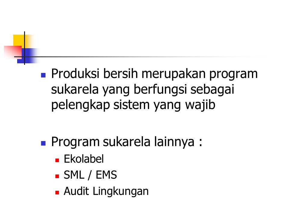 Produksi bersih merupakan program sukarela yang berfungsi sebagai pelengkap sistem yang wajib Program sukarela lainnya : Ekolabel SML / EMS Audit Ling