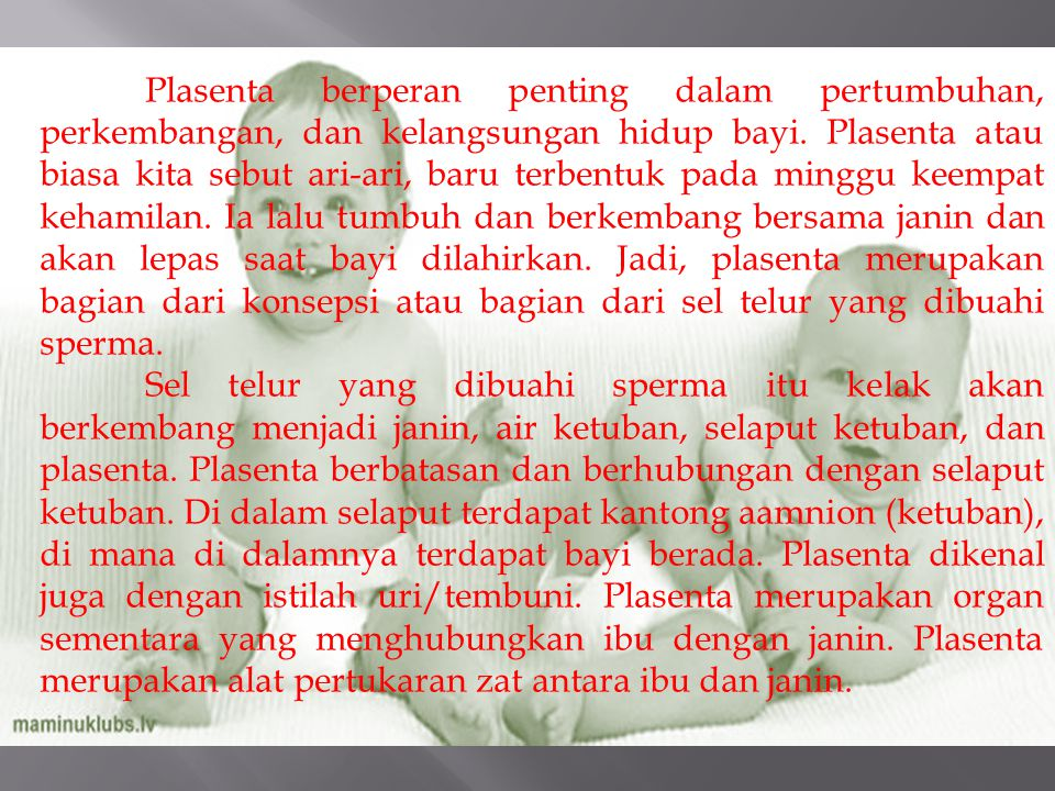 Faal plasenta antra lain : (1) Excretion Waste products excreted from the fetus such as urea, uric acid, and creatinine are transferred to the maternal blood by diffusion across the placenta.