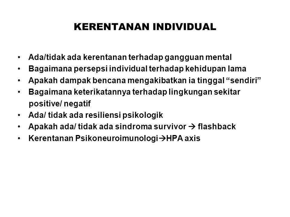 KERENTANAN INDIVIDUAL Ada/tidak ada kerentanan terhadap gangguan mental Bagaimana persepsi individual terhadap kehidupan lama Apakah dampak bencana mengakibatkan ia tinggal sendiri Bagaimana keterikatannya terhadap lingkungan sekitar positive/ negatif Ada/ tidak ada resiliensi psikologik Apakah ada/ tidak ada sindroma survivor  flashback Kerentanan Psikoneuroimunologi  HPA axis