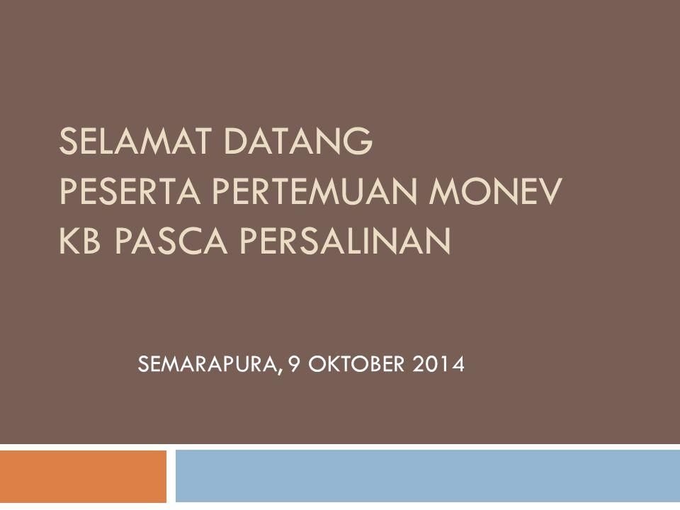 SELAMAT DATANG PESERTA PERTEMUAN MONEV KB PASCA PERSALINAN SEMARAPURA, 9 OKTOBER 2014