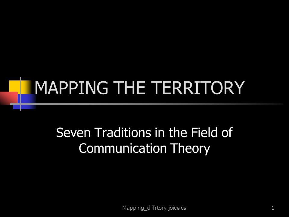 Mapping_d-Trtory-joice cs12 The Semiotic Tradition Communication as the Process of Sharing Meaning Through Signs Semiotika memandang komunikasi sebagai proses pemberian makna melalui tanda yaitu bagaimana tanda mewakili objek, ide, situasi, dan sebagainya yang berada diluar diri individu.