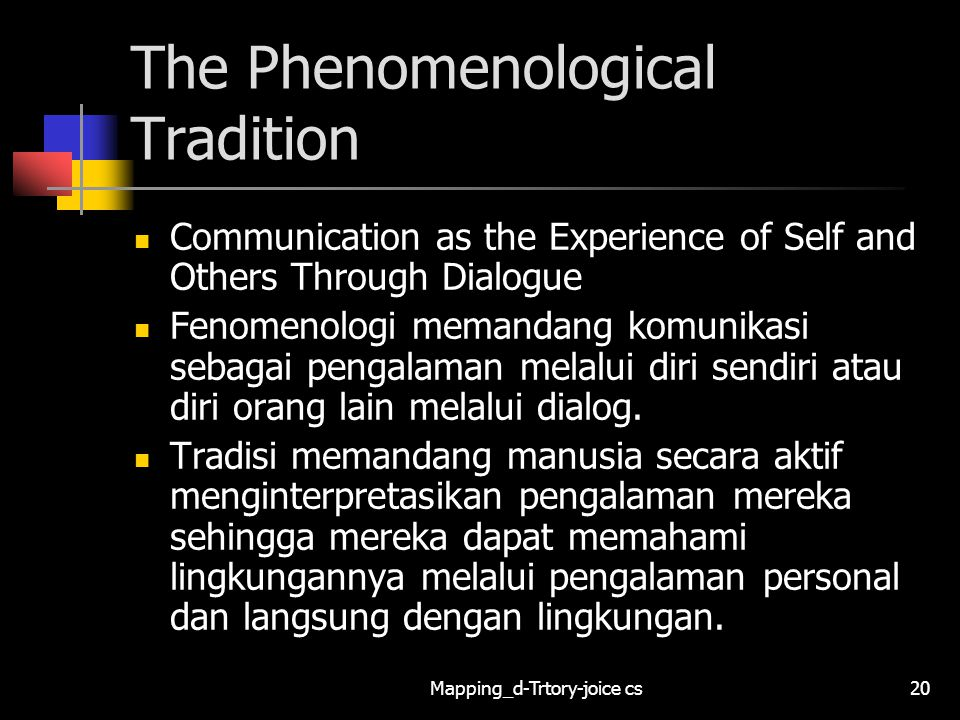 Mapping_d-Trtory-joice cs20 The Phenomenological Tradition Communication as the Experience of Self and Others Through Dialogue Fenomenologi memandang