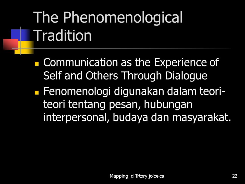Mapping_d-Trtory-joice cs22 The Phenomenological Tradition Communication as the Experience of Self and Others Through Dialogue Fenomenologi digunakan