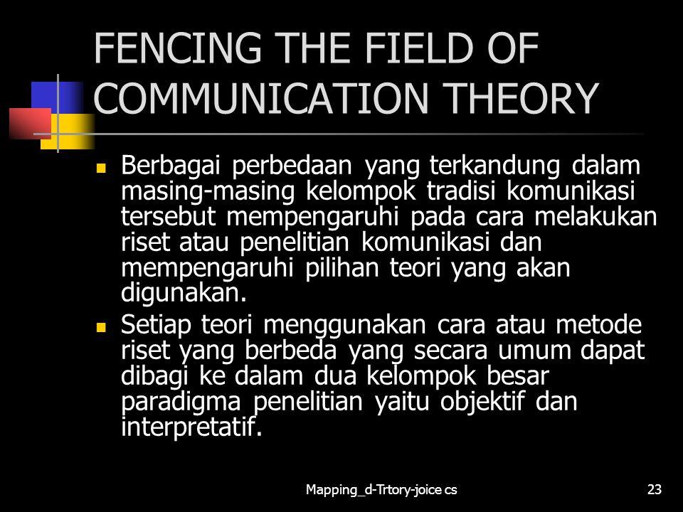 Mapping_d-Trtory-joice cs23 FENCING THE FIELD OF COMMUNICATION THEORY Berbagai perbedaan yang terkandung dalam masing-masing kelompok tradisi komunika