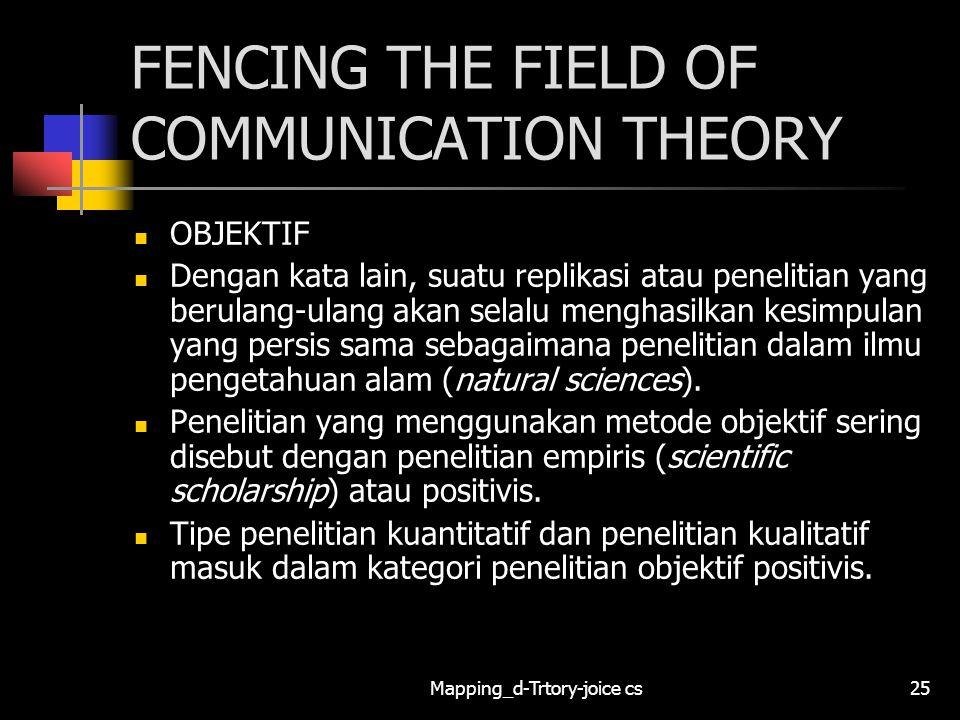 Mapping_d-Trtory-joice cs25 FENCING THE FIELD OF COMMUNICATION THEORY OBJEKTIF Dengan kata lain, suatu replikasi atau penelitian yang berulang-ulang a