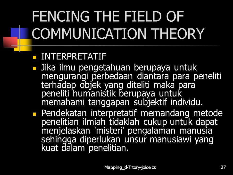 Mapping_d-Trtory-joice cs27 FENCING THE FIELD OF COMMUNICATION THEORY INTERPRETATIF Jika ilmu pengetahuan berupaya untuk mengurangi perbedaan diantara