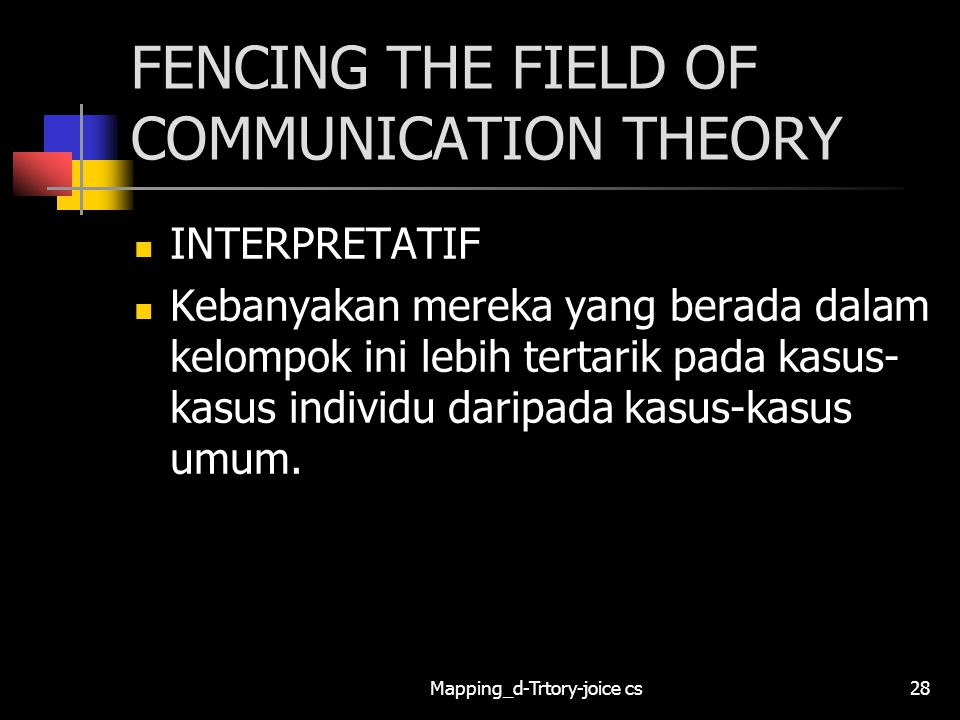 Mapping_d-Trtory-joice cs28 FENCING THE FIELD OF COMMUNICATION THEORY INTERPRETATIF Kebanyakan mereka yang berada dalam kelompok ini lebih tertarik pada kasus- kasus individu daripada kasus-kasus umum.