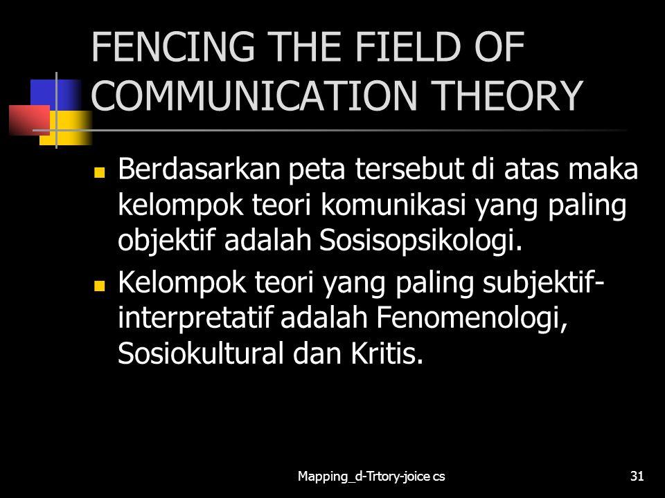 Mapping_d-Trtory-joice cs31 FENCING THE FIELD OF COMMUNICATION THEORY Berdasarkan peta tersebut di atas maka kelompok teori komunikasi yang paling obj