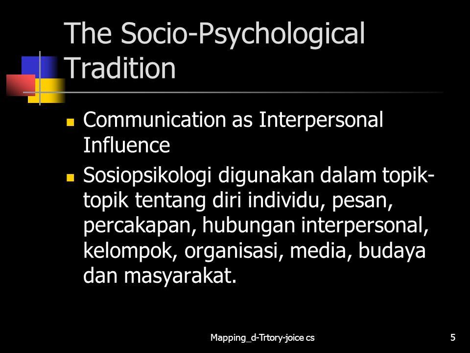 Mapping_d-Trtory-joice cs16 The Socio-Cultural Tradition Communication as the Creation and Enactment of Social Reality Sosiokultural digunakan dalam topik- topik tentang diri individu, percakapan, kelompok, organisasi, media, budaya dan masyarakat.