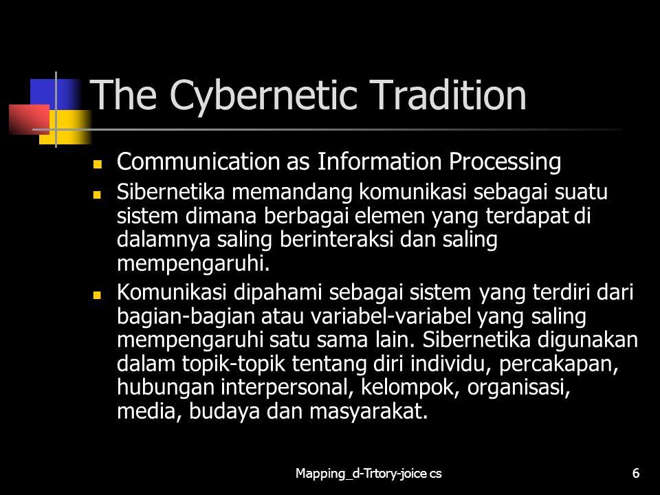 Mapping_d-Trtory-joice cs7 The Cybernetic Tradition Communication as Information Processing Sibernetika digunakan dalam topik-topik tentang diri individu, percakapan, hubungan interpersonal, kelompok, organisasi, media, budaya dan masyarakat.